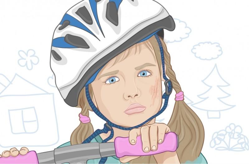 Menina de capacete andando de trotinete