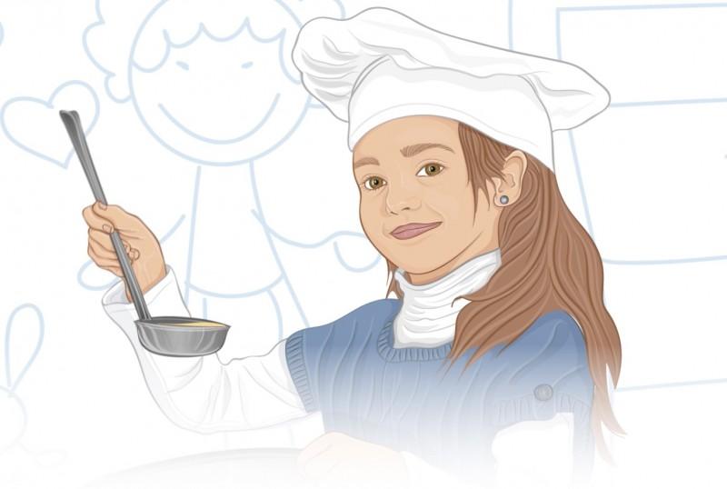 criança ajudando na cozinha