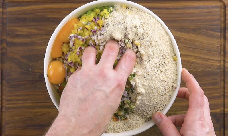 Mistura de ingredientes para a carne moída