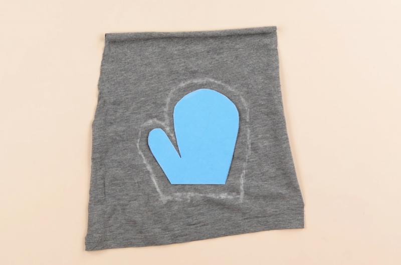 Luva de criança tracejada em tecido