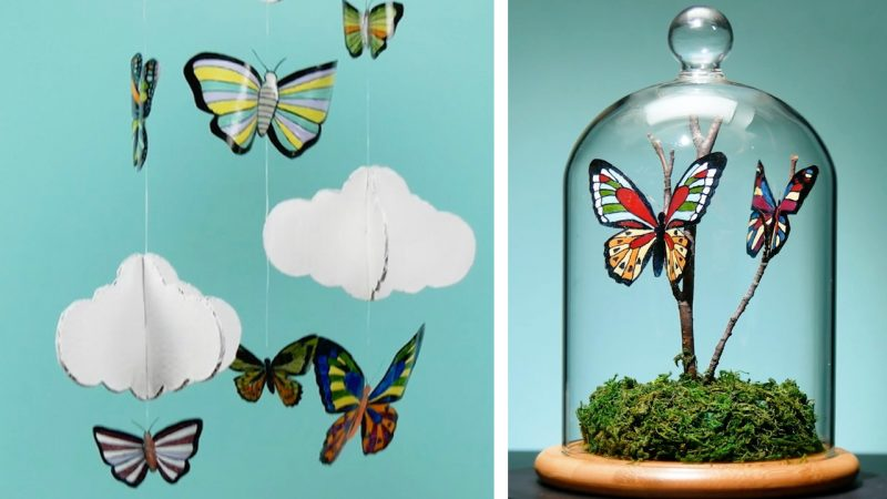 Objetos decorativos com borboletas de plástico