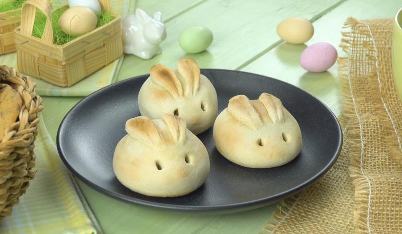 3 coelhinhos de pão com queijo