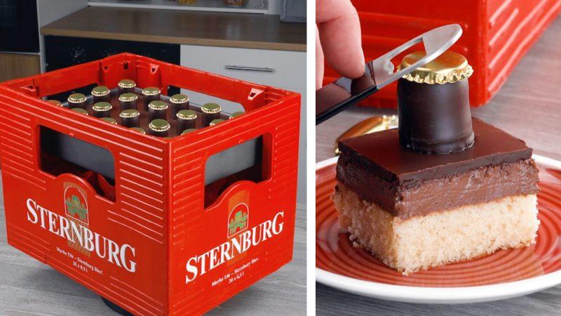 Tabuleiro de bolo pronto, com tampinha, colocado em caixa de cerveja
