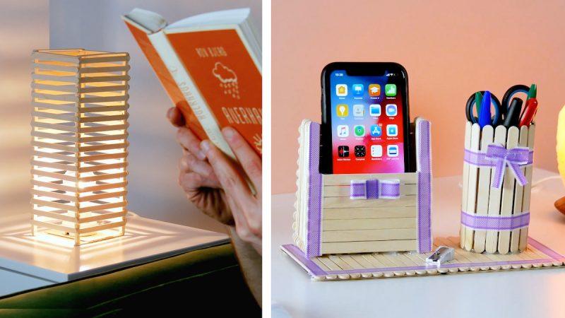 Luminária e porta celular com porta lápis feito com palitos de picolé