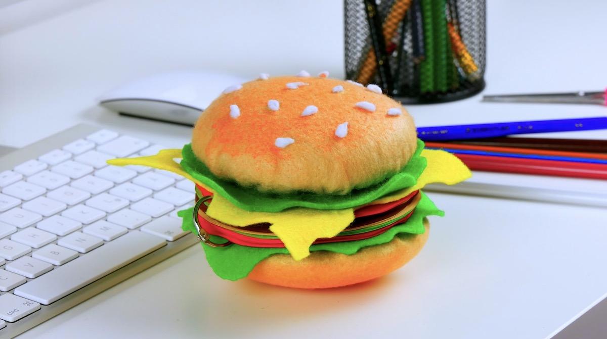 Hambúrguer bloco de notas pronto