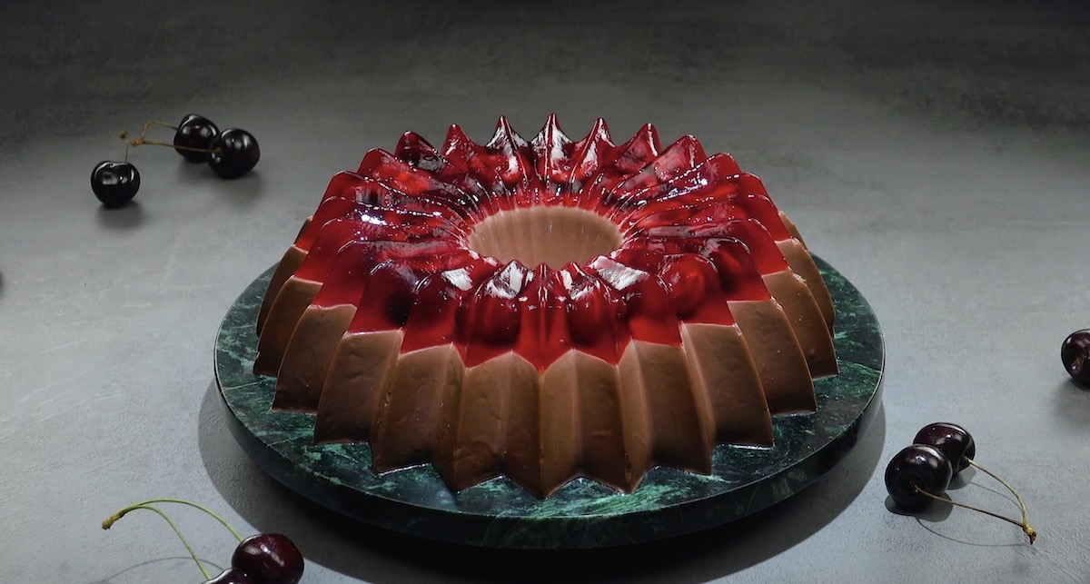 Pudim de chocolate e gelatina