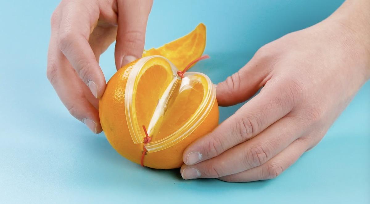 tampa de plástico para conservar fruta cortada