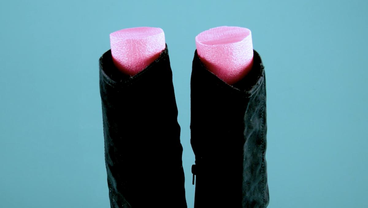 suporte de botas com macarrão de piscina