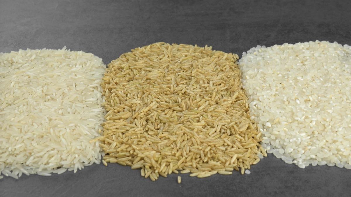Arroz branco longo, integral e mini arroz
