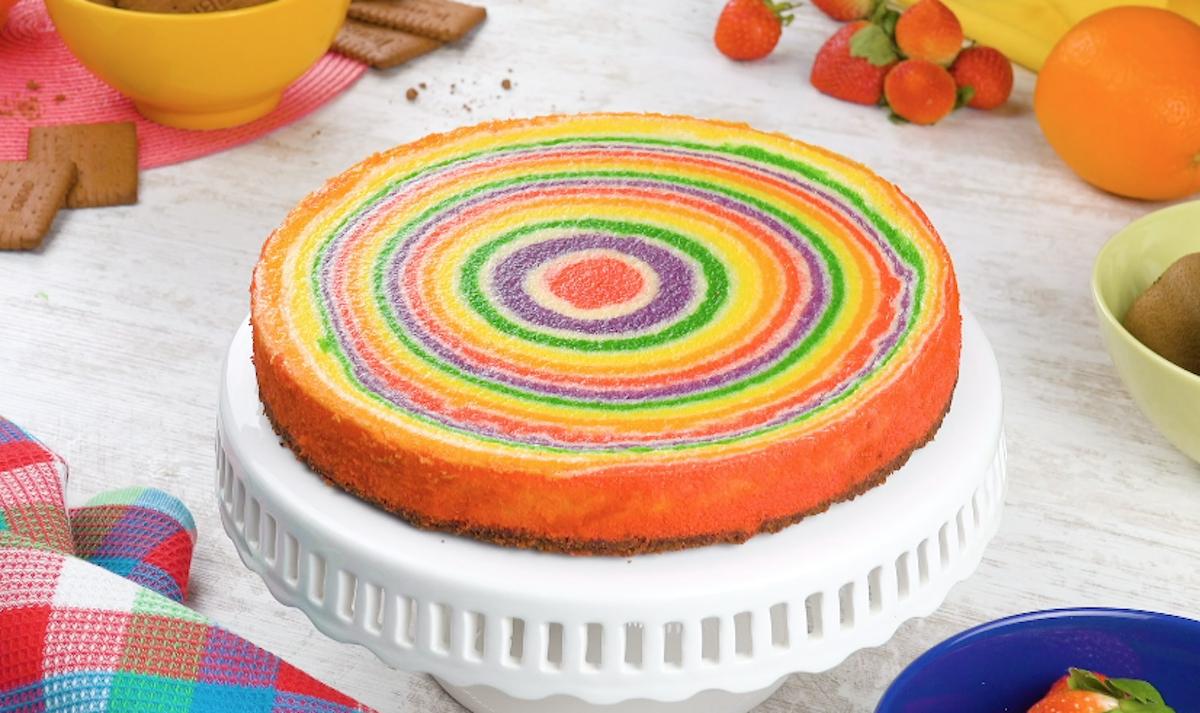 torta arco-íris em espiral
