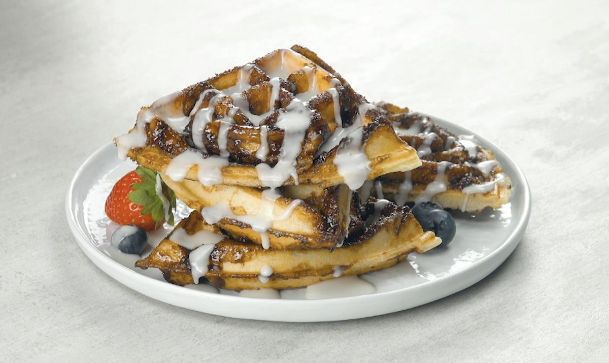 Waffle de canela e açúcar