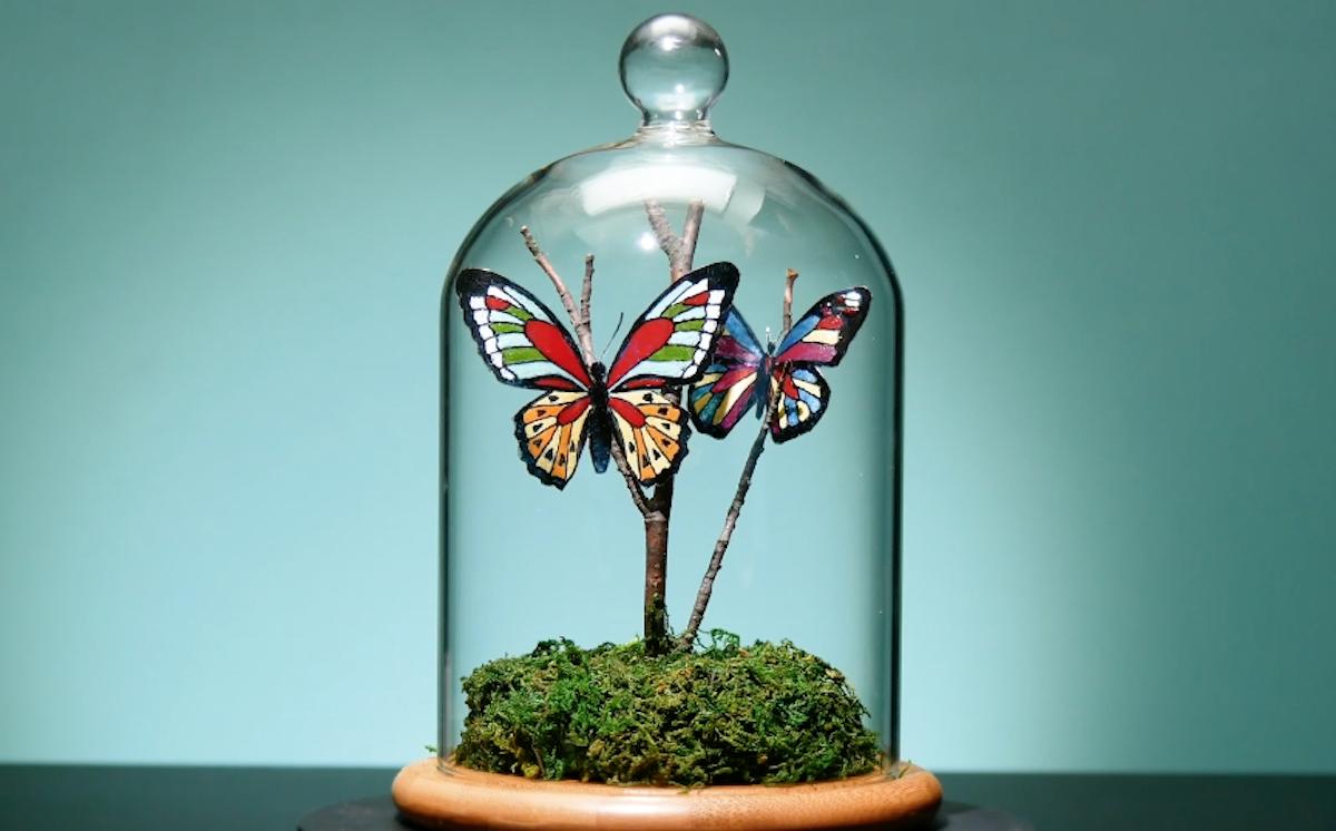 borboletas de garrafas de plástico