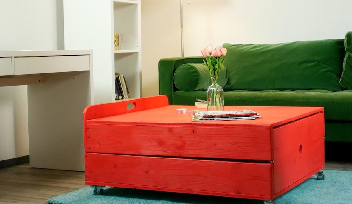 mesa que se converte em cama