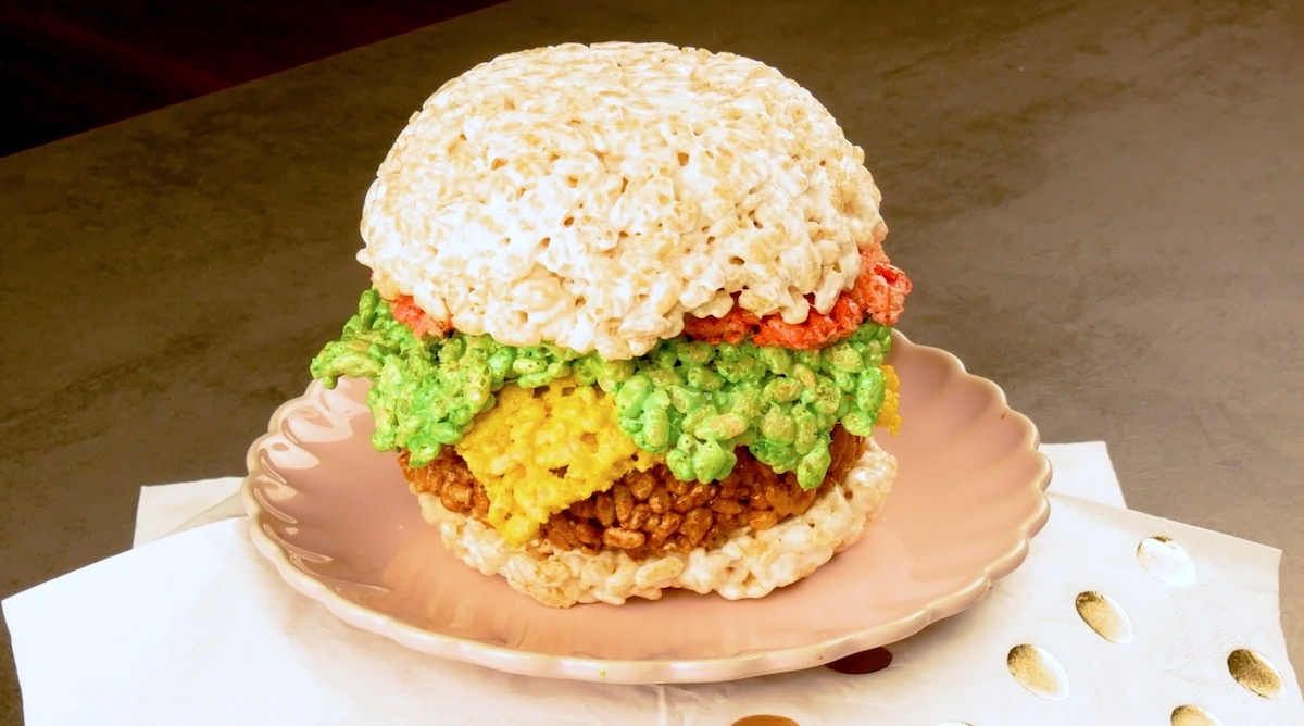 hambúrguer de flocos de arroz