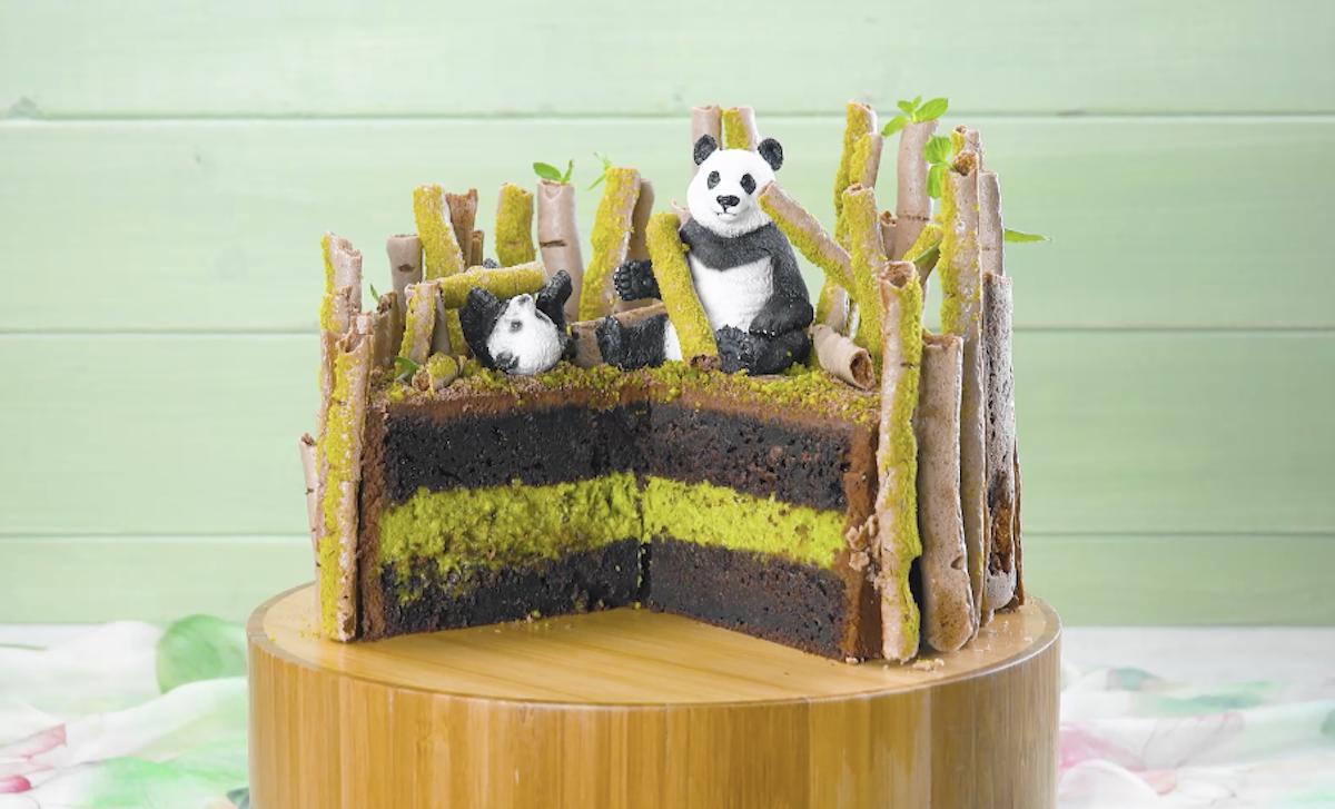 bolo com bambu de merengue