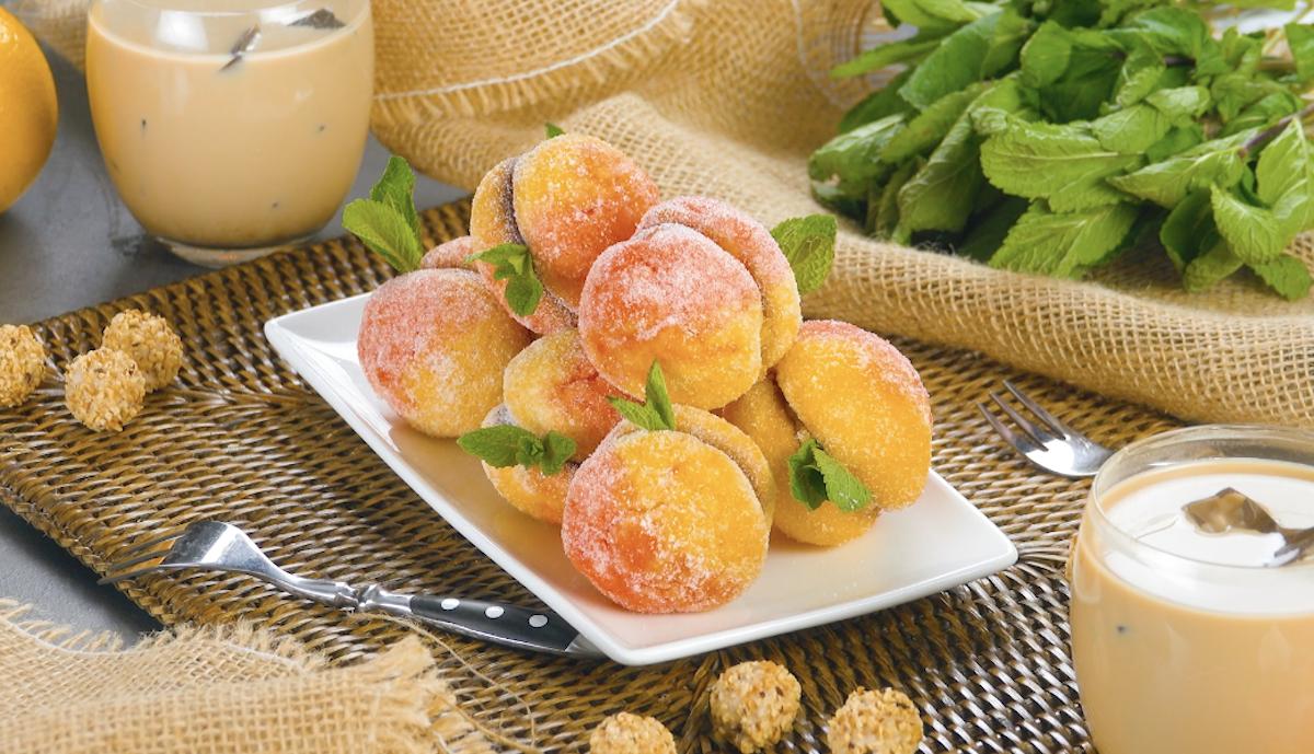 biscoitos em forma de pêssego