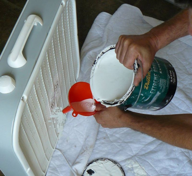 peinture dans ventilateur