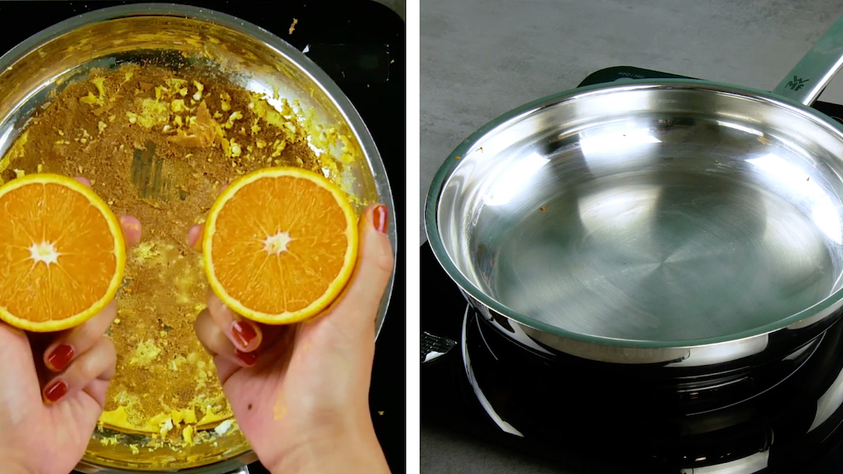 limpar panela suja com laranja