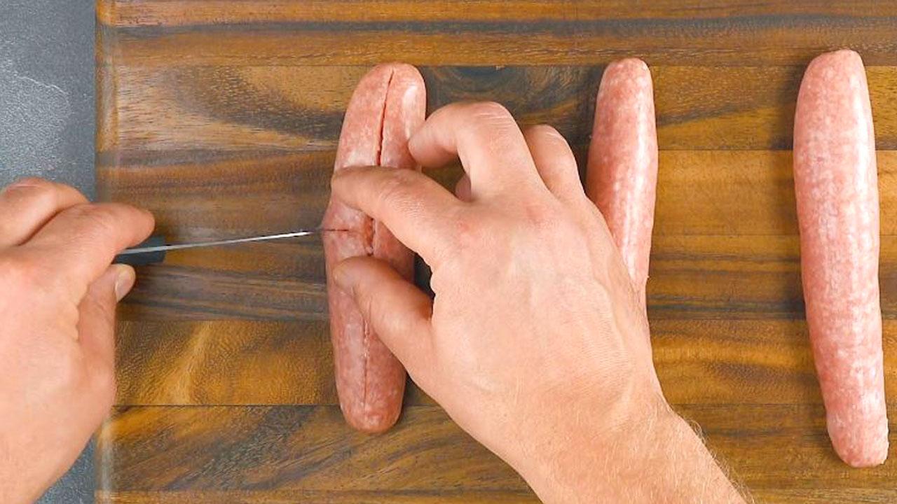cortar as salsichas