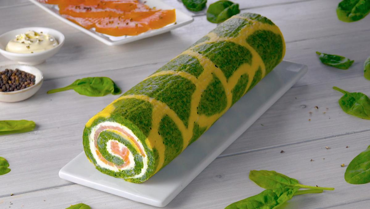 rolo de espinafre com salmão