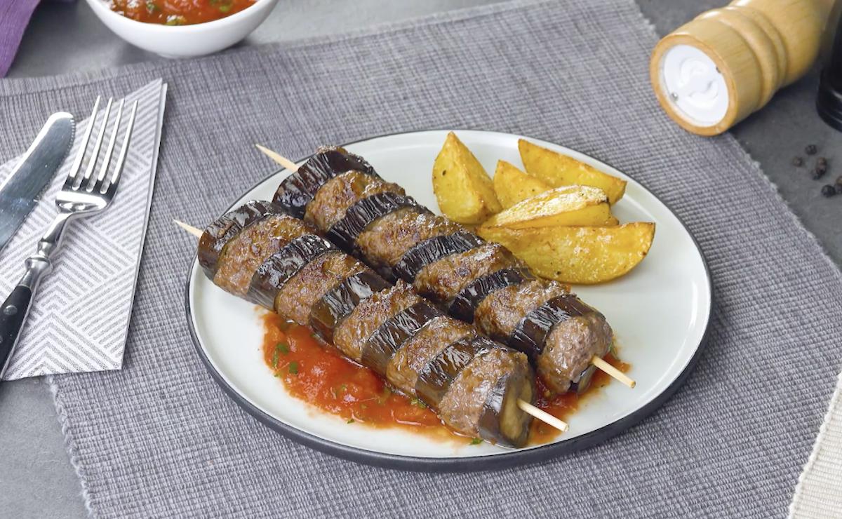 espeto de berinjela com carne moída