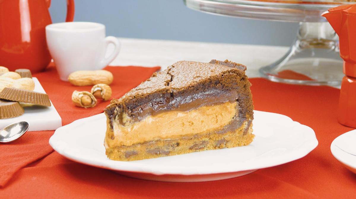 bolo de manteiga de amendoim e brownie