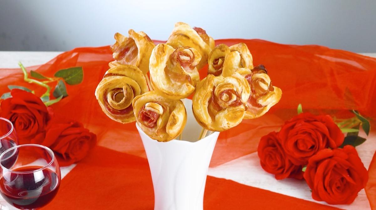 rosas de massa folhada