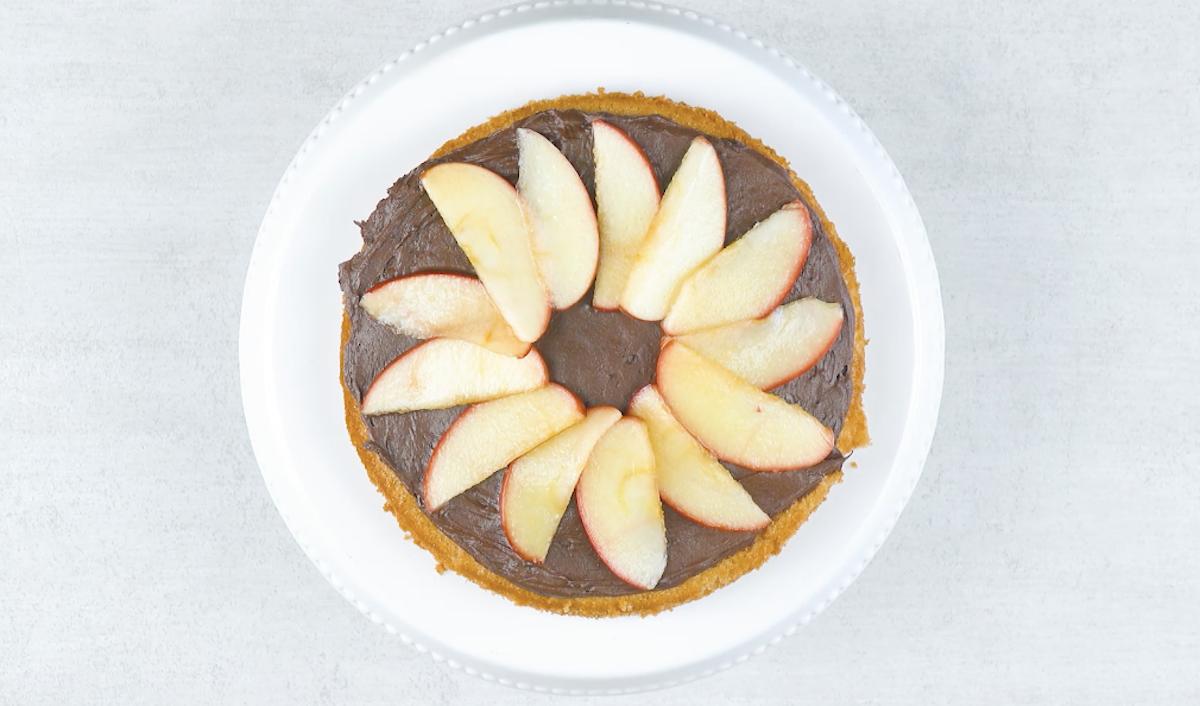 maçãs e cobertura de chocolate