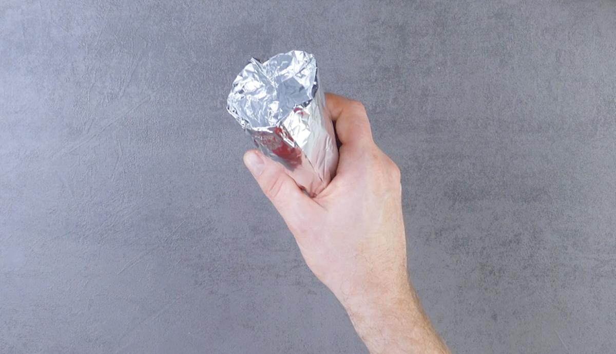 casquinha de sorvete em folha de alumínio