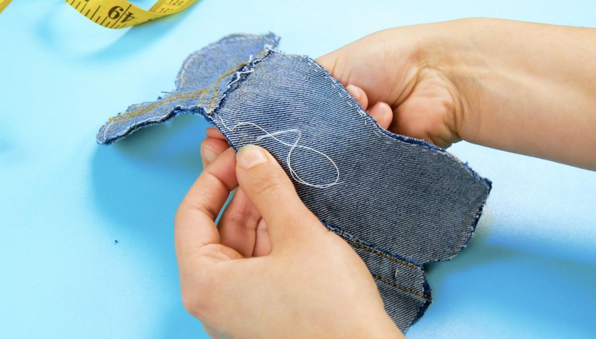 costure os ossos de jeans