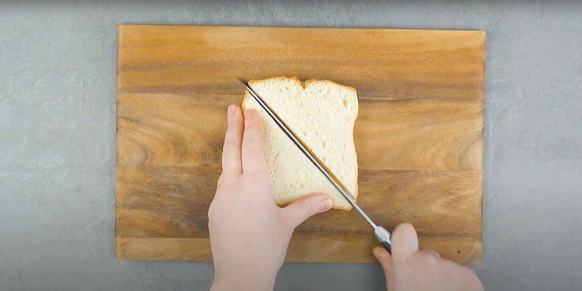 corte o sanduíche na diagonal