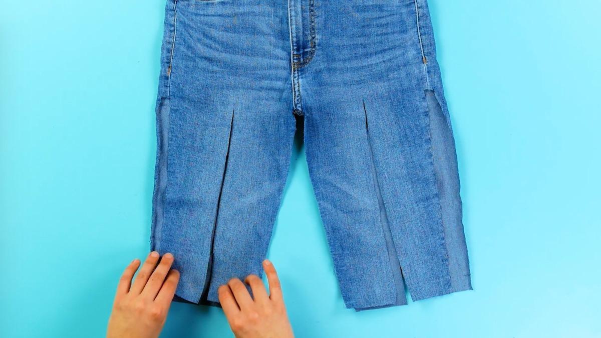 corte a calça em tiras