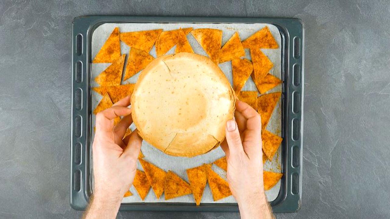 nachos e tigela de tortilha