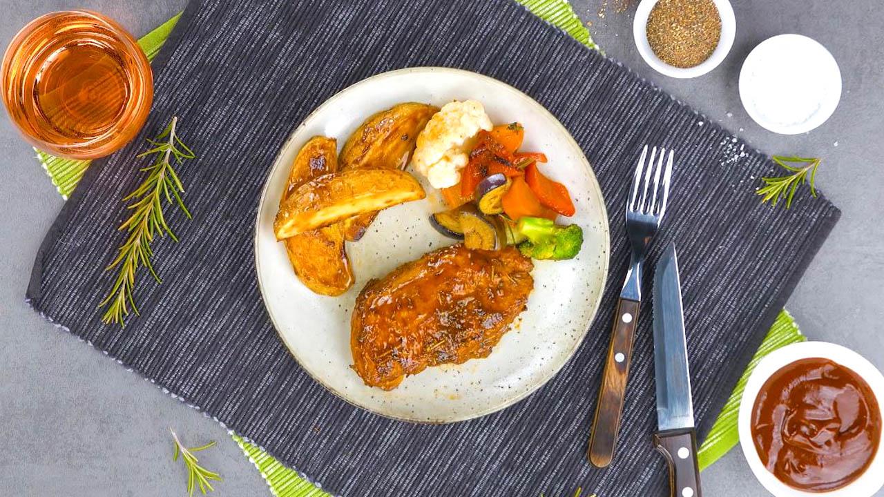 frango e legumes assados