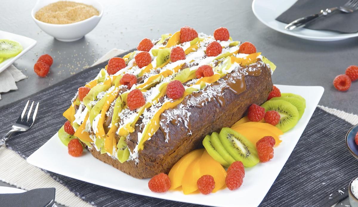 pão de chocolate com frutas e chocolate