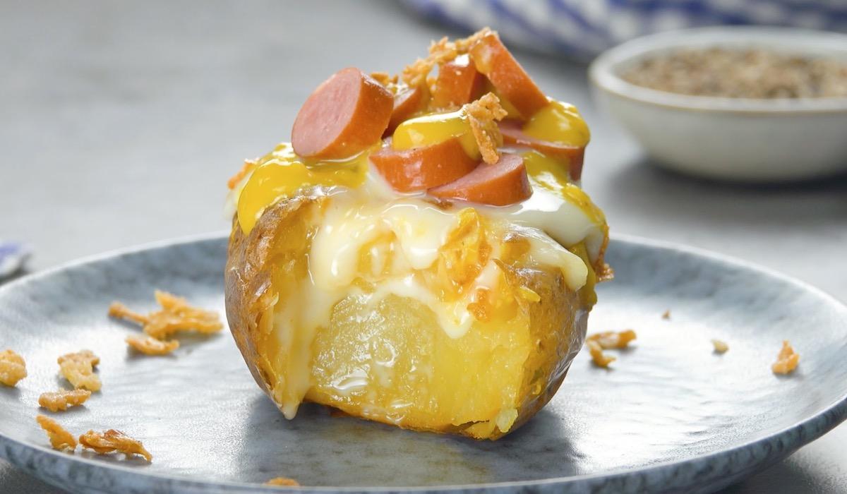batata com salsicha