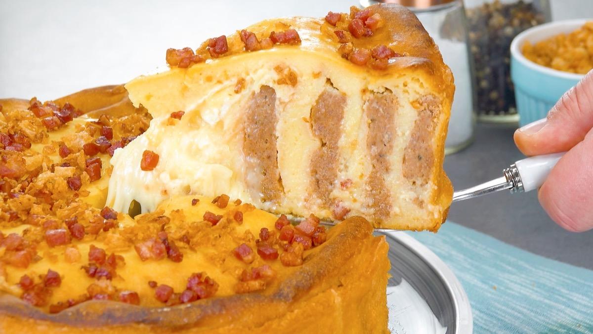 bolo de purê com carne moída e camembert