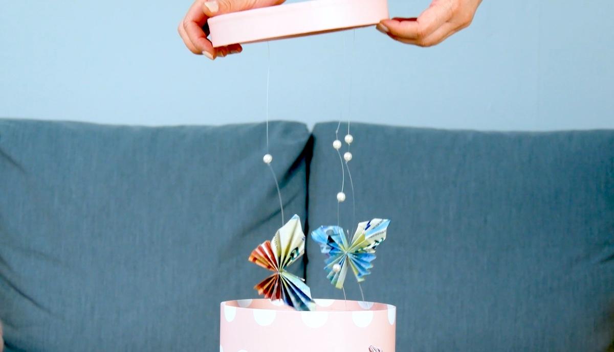 borboletas de dinheiro em caixa