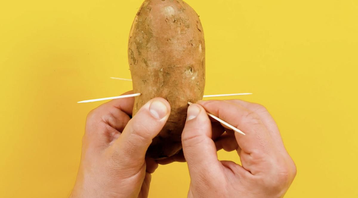 Espete quatro palitos nas laterais da batata-doce