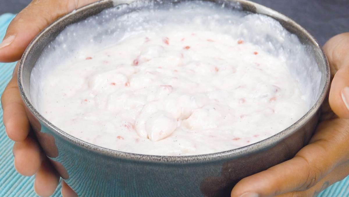 Integre a mistura de gelatina com a mistura de mascarpone