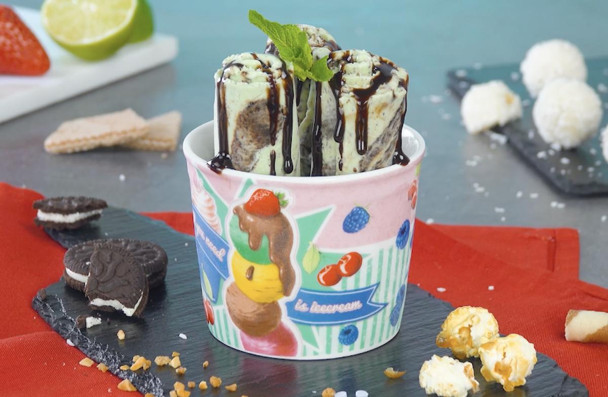 sorvete de menta com chocolate