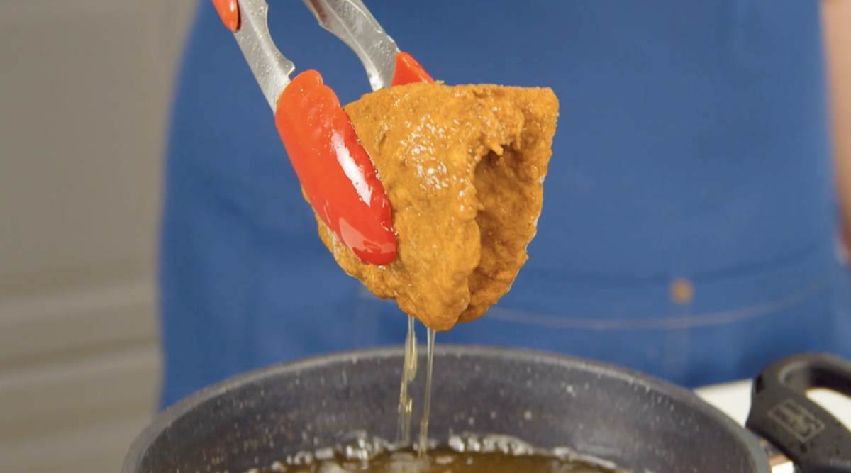 frango empanado e frito
